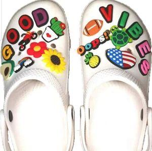 25 Pcs Crocs Shoes Charms Jibbitz GOOD VIBES Girly
